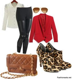 So ready for Fall in this whole ensemble... love the Animal Print Ankel Boots <3