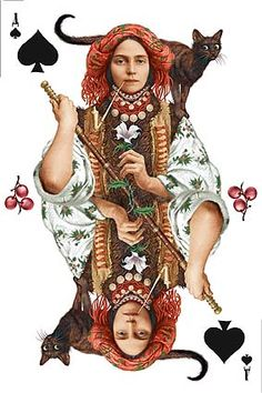 The talented Ukrainian artist Vladislav Erko has created an absolutely amazing deck of playing cards based on authentic traditional Ukrainian costumes. Thus is my favourite card. ukraine ace of spades woman black cat Queen Of Spades, Ace Of Spades, Vintage Playing Cards, Dita Von Teese, Art Plastique, Deck Of Cards, Tarot Cards, Wicca, Magick