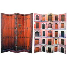 A beautiful decorative four panel privacy screen room divider. Inexpensive, portable, canvas & wood frame design. Delightful, colorful photographs printed on the front & back.