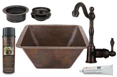 "View the Premier Copper Products BSP4_BS17DB-G 17"" Large Square Hammered Copper Bar/Prep Sink, Single Handle Bar Faucet, 3-1/2"" Garbage Disposal Drain and Accessories at FaucetDirect.com."