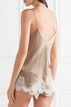 a9e1d49ede2e6 Carine Gilson Chantilly lace-trimmed silk-satin camisole $895 Lace Slip,  Slip On