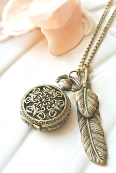Victorian Feather Pocket Watch Necklace. time keeper