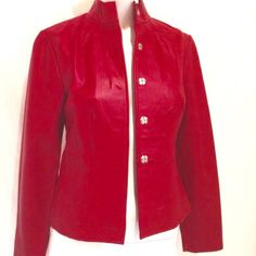 """❤️💕💞Red Leather Jacket by i.e Red genuine soft leather women's jacket. Never been worn. The chest size is 16"""", the waist is 14.5"""", length of jacket 21"""" and sleeve length is 22.5"""". Frontal measurements only. PLEASE NOTE: This is Petite Extra Small. I.e. Jackets & Coats"""