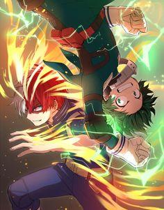 Todoroki Shoto // Izuku Midoriya // Deku // My Hero Academia My Hero Academia Episodes, My Hero Academia Memes, Hero Academia Characters, Boku No Hero Academia Todoroki, My Hero Academia Manga, I Love Anime, Me Me Me Anime, Anime Kunst, Anime Art