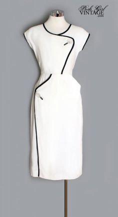 1950s White & Black Mid Century Day Dress.