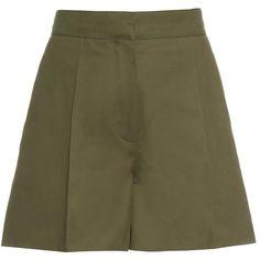 Valentino Structured cotton-gabardine shorts (€235) ❤ liked on Polyvore featuring shorts, high rise shorts, animal print shorts, embellished shorts, high waisted cotton shorts and green shorts