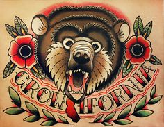California Bear Old School Tattoo Flash. Traditional Tattoo Flash and Wall Art by Quyen Dinh