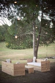 Pallet Ideas... But I like the idea of the lights in the back garden....