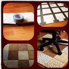 DIY Rug from free carpet squares! Took me 10 minutes. Super easy.
