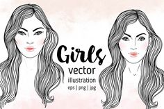 2 Girls: Caucasian and Asian women with long hair.  2 Fashion vector illustrations isolated on white. Face chart. Skincare, professional hairdressing, beauty salon concept. Coloring book for kids and adults.  All illustrations are vector-based and easy to modify with basic Adobe Illustrator knowledge.
