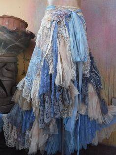 Wedding skirt, tattered skirt, mori girl stevie by wildskin Bohemian Skirt, Gypsy Skirt, Boho Skirts, Wrap Skirts, Boho Dress, Gypsy Style, Boho Gypsy, Bohemian Style, Mori Girl