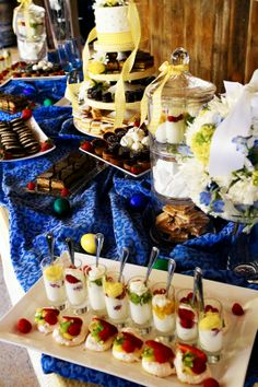 Blue and Yellow wedding dessert table. Happy Spring Wedding!  Cake and dessert by Sugar and Spice Specialty Desserts, Sacramento, CA Wedding Planner: A Day to Remember
