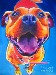 pitbull art   Pit Bull - Lots To Love Painting - Pit Bull - Lots To Love Fine Art ...