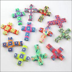 20pcs Random Mixed Polymer Fimo Clay Cross Charms Pendants 18x25mm Craft DIY | eBay