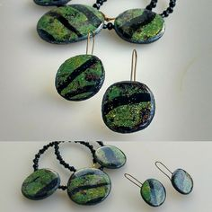 Polymer clay necklace & matching earrings | by Dev'Art60