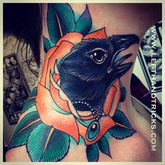 stunning eye on this necklacking wearing crow/ raven head emerging from a flower on someone's neck.  xam family business neo traditional tattoo