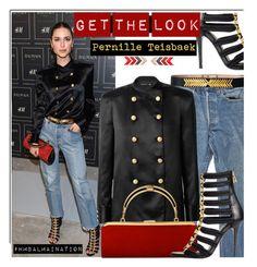 """Get The Look: Pernille Teisbaek & #HMBALMAINATION"" by hamaly ❤ liked on Polyvore featuring moda, Levi's, GetTheLook, BloggerStyle, balmain e hmbalmaination"