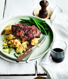 Flat-iron steak with red wine and ginger sauce and crushed potatoes - delicious