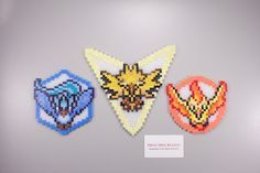 Pokemon Go Teams - Mystic, Instinct and Valor perler beads by ManicMadeGeekery