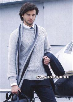 Мобильный LiveInternet Мужской серебристый пуловер с ромбами и шарф в полоску. Спицы   Н_Филина - Дневник Н_Филина  