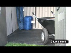 The Lifetime shed is constructed from double-walled heavy-duty polyethylene plastic with steel reinforcements for low maintenance and durability. Plastic Sheds, Wheelbarrow, Garden Tools, Outdoor Power Equipment