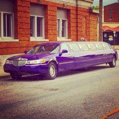 Purple Lincoln stretch limo in Alton IL, 2016. #limo #joker #purple #lincoln #uptownfunk #jokerscar #pimp