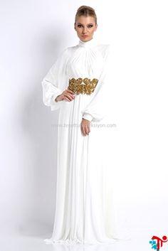 2015 Tesettür Bel Boncuklu Beyaz Elbise | Kayra | Armine | Setrms | Aker | Alvina