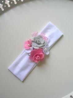 Keçe Çiçekli Bebek Saç Bandı