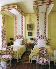 French cottage dream bedroom: Braquenié -- absolutely stunning beds, canopies, chairs, rug - The World of Interiors UK, 2009 Backyard Canopy, Canopy Outdoor, Canopy Tent, Bed Canopies, Window Canopy, Canopy Lights, Bed Crown, Wooden Canopy, Canopy Architecture