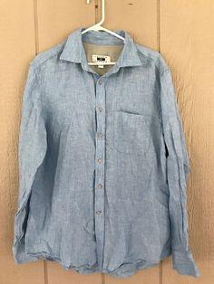 Joseph Abboud Men's Shirt Button Front Long Sleeve Shirt Sz L 100% Linen Blue #JosephAbboud #ButtonFront