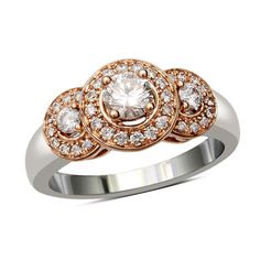 5/8 CT. T.W. Diamond Three Stone Frame Ring in 14K Two-Tone Gold