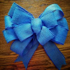 Check out this item in my Etsy shop https://www.etsy.com/listing/399614651/big-blue-bow-burlap-blue-bow-wreath-bow