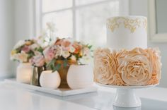 Peach & Gold Wedding Inspiration || Sugarlips Cakes || Alexandra Vonk