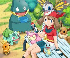 torchic, bulbasaur, munchlax, skitty, beautifly, eevee, squirtle, mai, pokemon