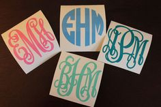 "SINGLE 2"" Vinyl Personalized Monogram Decal Stickers by CuteJust4u on Etsy"