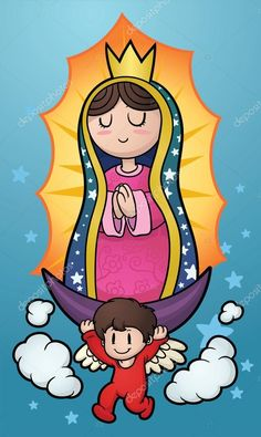 Buy Cartoon Virgin by memoangeles on GraphicRiver. Virgin of Guadalupe. Vector clip art illustration with simple gradients. Virgin and background on separate layers. Cartoon Cartoon, Cartoon Drawings, Easy Drawings, Cartoon Painting, Painting & Drawing, Virgin Mary Painting, Dual System, Mexican Art, Illustration Art