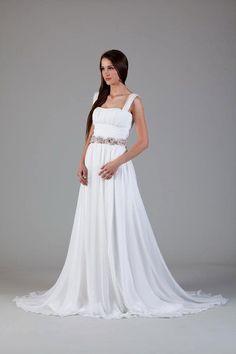 Silk chiffon Greek inspired wedding dress by princessmemaria, $1100.00
