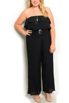 DHStyles Women's Black Plus Size Casual Flowy Strapless Ruffled Tiered Overlay Maxi Romper With Belt - 1X Plus #sexytops #clubclothes #sexydresses #fashionablesexydress #sexyshirts #sexyclothes #cocktaildresses #clubwear #cheapsexydresses #clubdresses #cheaptops #partytops #partydress #haltertops #cocktaildresses #partydresses #minidress #nightclubclothes #hotfashion #juniorsclothing #cocktaildress #glamclothing #sexytop #womensclothes #clubbingclothes #juniorsclothes #juniorclothes…
