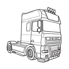 Adult Coloring Pages, Coloring Pages For Kids, Coloring Sheets, Truck Tattoo, Wooden Toy Trucks, Truck Coloring Pages, Truck Art, Heavy Truck, Car Drawings