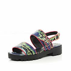 Blue snake print cleated sole sandals  #riverisland