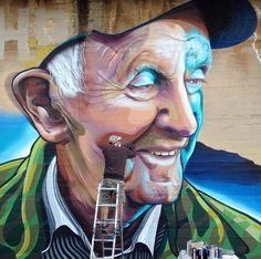 Vans the Omega at work - Goodwood, Adelaide, South Australia - . Urban Street Art, 3d Street Art, Street Art Graffiti, Street Artists, Urban Art, L'art Du Portrait, Portraits, Graffiti Wall Art, Murals Street Art