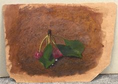 "Ancienne Petite Huile sur Papier Nature Morte Étude Cerise Fruit XIXe Tableau / ebay : JOLIBROCABRAC / Antique oil painting on paper from the 19th century ""Study of cherries"""