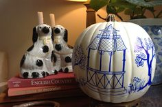 Ready to ship! Blue & White Chinoiserie Faux Pumpkin by AtThePostPaperie on Etsy
