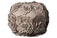 """Flower Pouf, Silver.  This perfectly plush pouf is bedecked with a bouquet's worth of blossoms; their petals are individually cut to look like the real deal, adding incredibly eye-catching texture and dimension.  Cover:  wool blend; fill:  polystyrene beads.  24""""Dia.  $199.00/$475.00 Retail"""