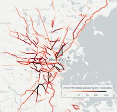 """MBTA: Average weekday of crowding for inbound passengers. """"While transit agencies traditionally analyze bus capacity by route, for this analysis we wanted to add up all crowding per street, regardless of how many bus routes use that street. The result of this systemwide overview shows those places where the most concentrated crowding occurs on buses – places where changes to bus service or road configuration could have a major impact on passenger comfort."""""""