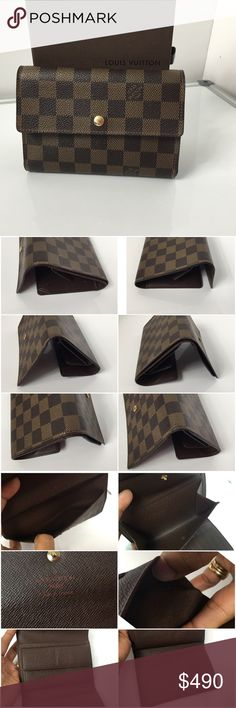 SOLD100%Authentic Louis Vuitton TriFold Wallet 100% Authentic Louis Vuitton Damier Ebene Tri-Fold Wallet with Box. Pre-Owned wallet in excellent used condition. No smell. No stain, no rip, no tears, no crack on the canvas. Inside has some normal sign of wear MADE IN FRANCE DATE CODE SP0035 ( March 2005 )  Please check all the pictures-.In order to avoid unnecessary return. 100% authentic or your money back - No return sold as is- Louis Vuitton Bags Wallets