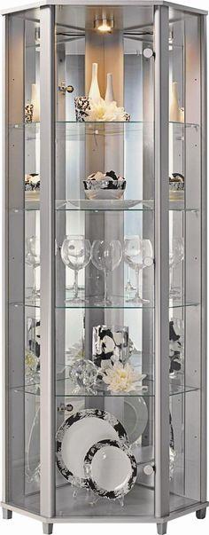 Corner Glass shelves Living Room - Glass shelves Decor Bookshelves - Glass shelves In Bathroom Decor - - Floating Glass shelves Glass Curio Cabinets, Crockery Cabinet, Glass Shelves In Bathroom, Living Room Modern, Living Room Designs, Dining Room Furniture, Home Furniture, Corner Display Cabinet, Corner Curio