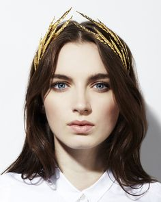 Jennifer Behr Pyrrha Tiara :: gold vintage brass stampings on headband, handmade in New York City #nyfw