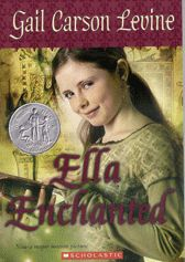"""""""Ella Enchanted"""" is a Newbery winner and a spin-off of fairy tales. In this book, a young girl is put under a spell and must obey everyone around her. The website provided will take you behind the scenes of the story; explaining how the tale came about. Also, this website offers the book in ten different languages, allowing almost any student to enjoy the story. (ESOL)"""