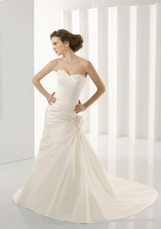 Taffeta Sweetheart Gathered Bodice Mermaid Wedding Dress